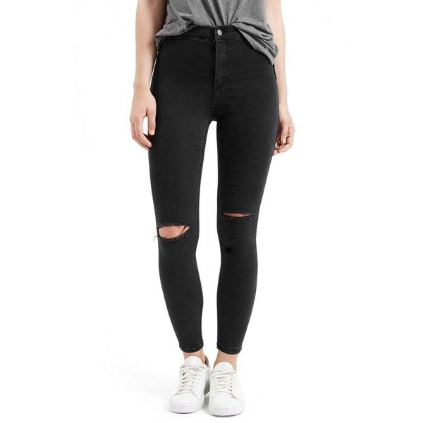 Petite Topshop 'Joni' Destroyed Moto Jeans (£47) ❤ liked on Polyvore featuring jeans, pants, black, petite, high waisted ripped skinny jeans, high waisted ripped jeans, black high waisted jeans, black distressed jeans und skinny jeans