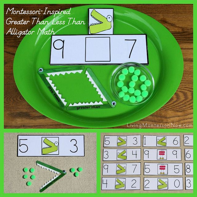Montessori-Inspired Greater Than Less Than Alligator Math - link to a free printable and ideas for creating a fun, hands-on activity to teach greater than and less than (my monthly post at PreK + K Sharing)