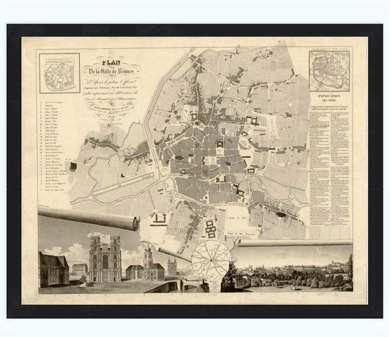 Old Map of Rennes  France 1830 by OldCityPrints on Etsy, $45.00