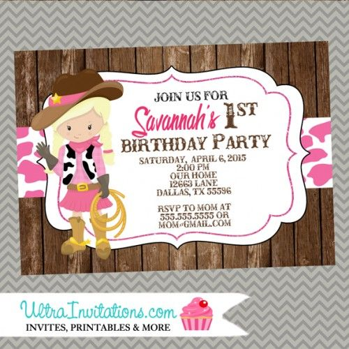 8 best cowgirl party ideas images on pinterest | birthday photos, Party invitations
