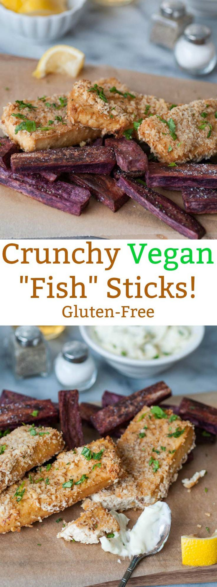 Crunchy Oven Fried Vegan Fish Sticks! These are gluten-free and oil-free! They have the perfect crunch and a nice flavor. Make them for dinner or for appetizers.