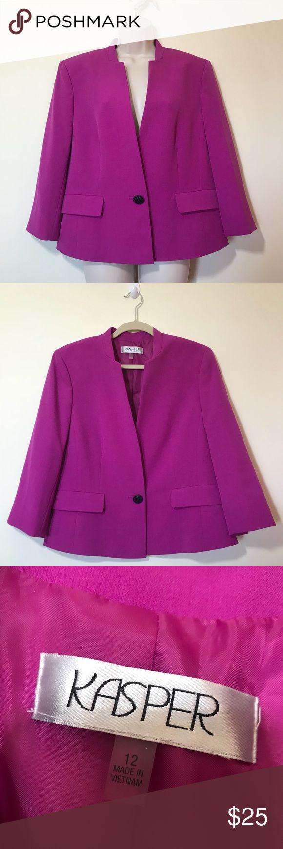 Purple Kasper Blazer Purple blazer from Kasper. Size 12! Fits true to size. 3/4 quarter length sleeve. One single black button. Worn twice — no stains/holes. Price is not firm — make an offer! 🖤 Kasper Jackets & Coats Blazers