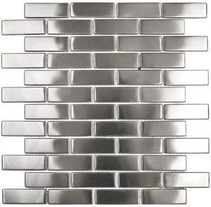 """Stainless steel brick tiles could be used as a """"rail"""" above the moasic tile in the boys bathroom."""