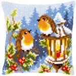 Robins at the Lantern - Kruissteekkussen - Vervaco