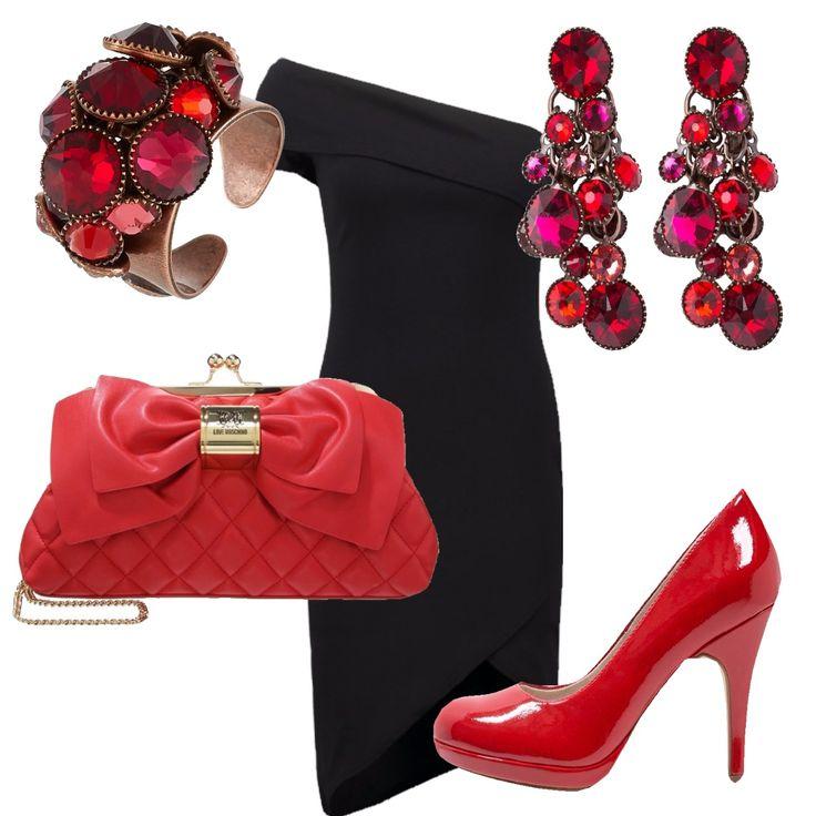 Outfit sexy per la sera, adeguato per serate in discoteca o party, per chi vuole essere elegante ma con un tocco deciso di colore. E' composto da un tubino monospalla, che mette in risalto la figura, e da accessori nelle cromie del rosso che impreziosiscono l'outfit. Le scarpe rosse donano un tocco di aggressività.