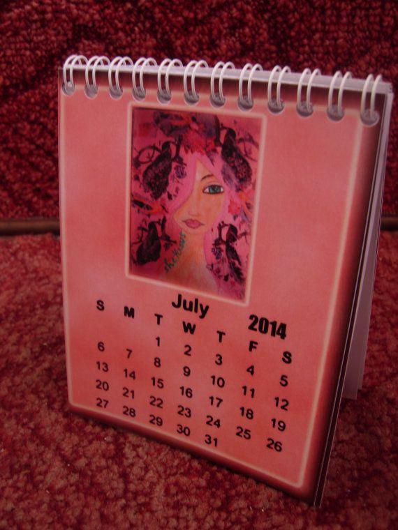 A Pink 2014  art illustrated wall/desk/pocket calendar by eltsamp, $20.00