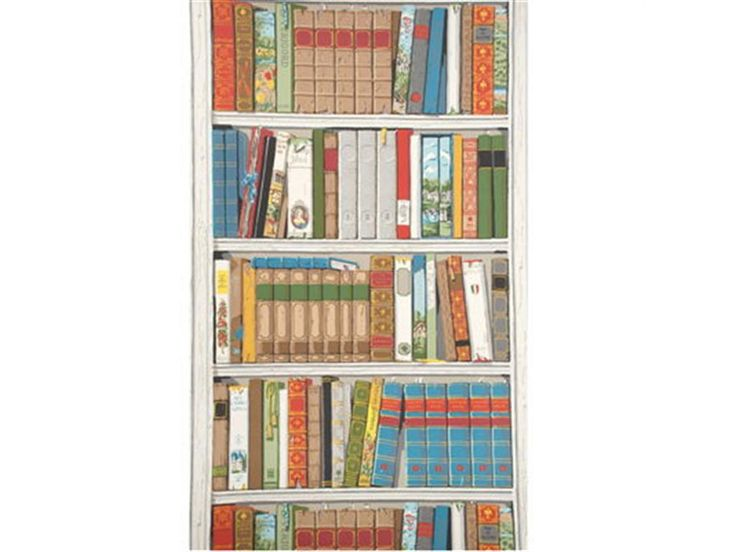 Bibliotheque Multicolor Wallpaper: I like the 1980s illustrated-style colors--perfect for an accent wall in an office.