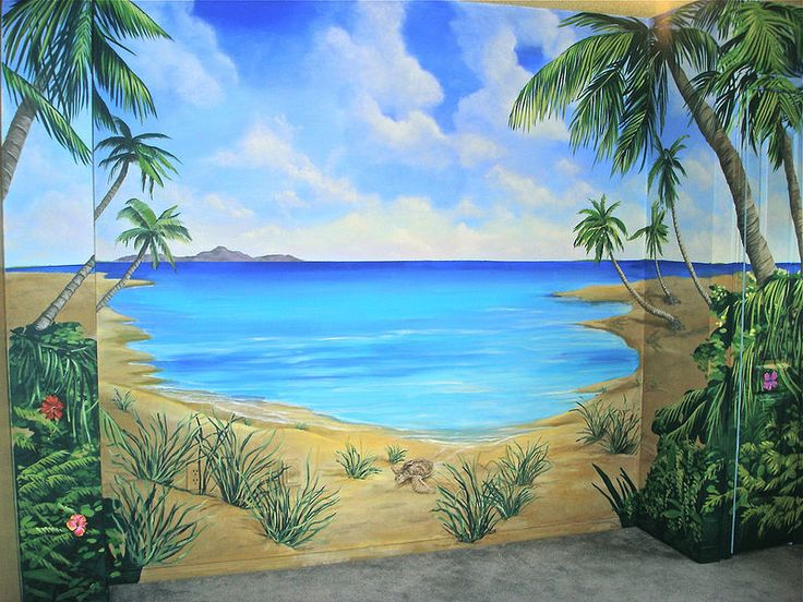 1000 images about murals on pinterest how to paint for Beach mural painting