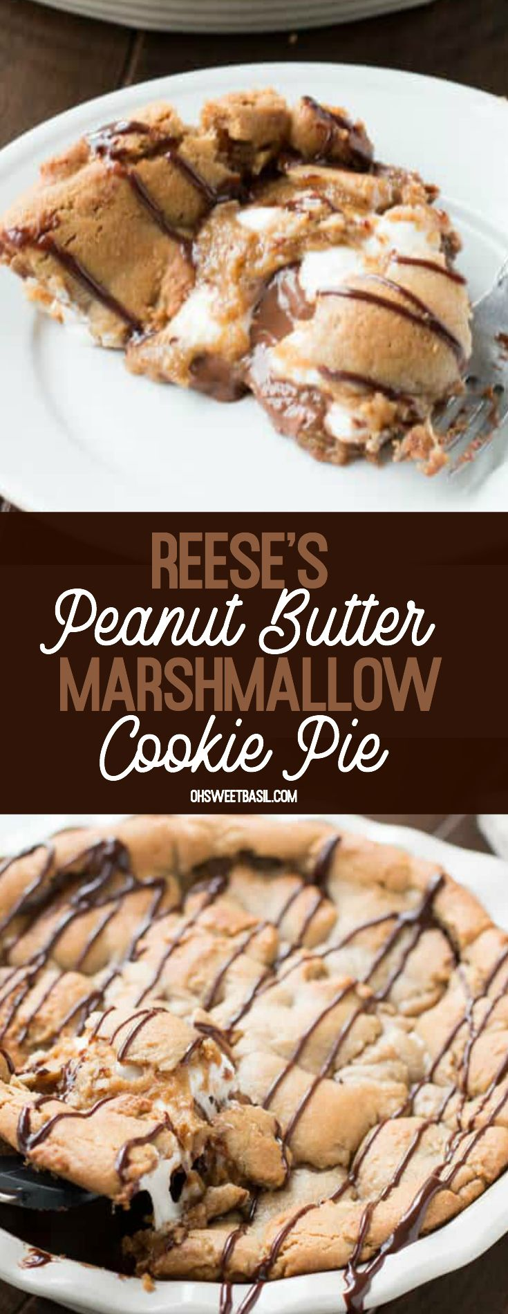 This Reese's Peanut Butter Marshmallow Cookie Pie …