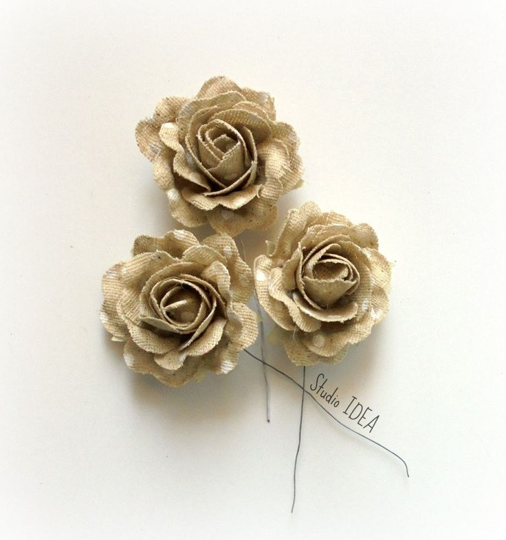 6 Roses- Canvas roses with white Polka Dots- Flower embellishments - Set of 6 by StudioIdea on Etsy