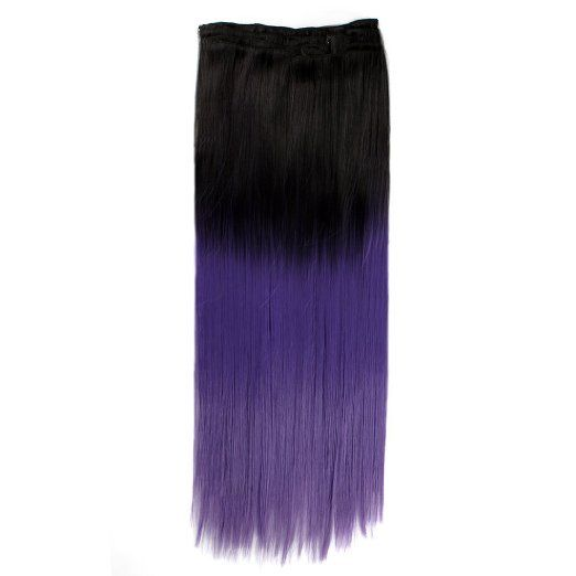 Neverland 24'' long #Straight #Hairpieces Full #Head 20 Clips Two Tone in #Hair #Extensions Black to dark #purple