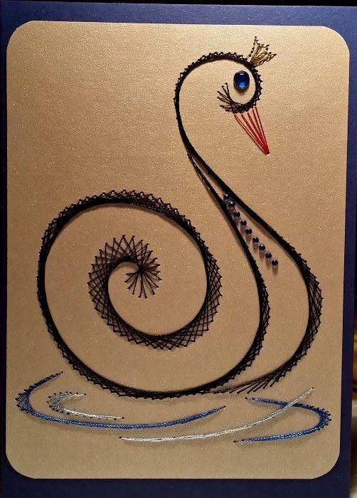SCHWANENSEE - der schwarze Schwan - Doppelkarte Format A 6 - von mir gefertigt am 30.11.2015