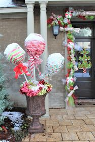 The Christmas Home Tour 2017 at Kopy Kat Kottage starts as you come down the street. Festive and bright big lollipops and other t...
