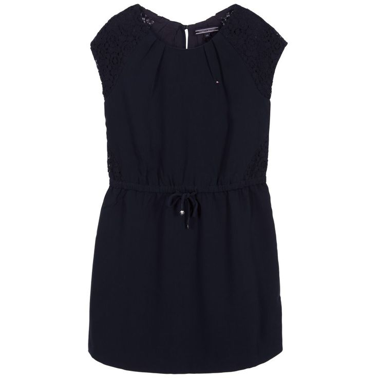 This smart dress in navy blue has a pretty blouson look girls will love with feminine lace overlays on the shoulders and waist. For added comfort, the soft crêpe feel fabric has a soft viscose lining. The designer details of silver branded buttons and embroidered logo make it truly Tommy Hilfiger.