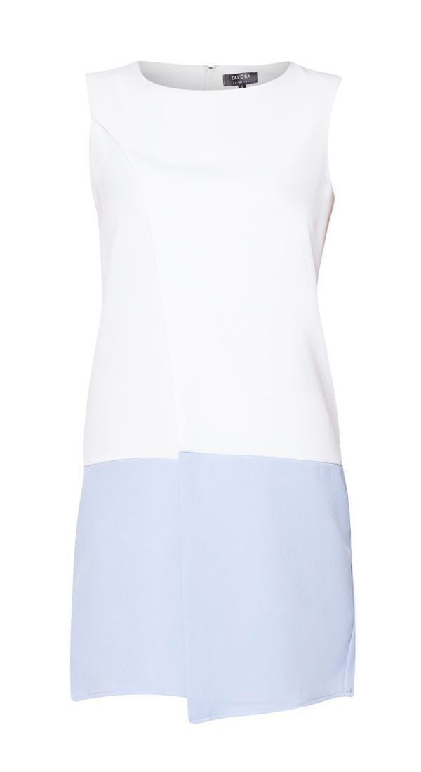 Colourblocked Spliced Dress by Zalora, made from polyester blend fabric, with off white and blue color, round neck, sleeveless, back zipper, unlined, relaxed fit, simple but eye catching dress for your casual style.    http://www.zocko.com/z/JJObm