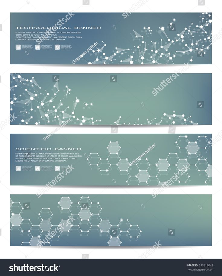 Set of modern scientific banners. Molecule structure of DNA and neurons. Geometric abstract background. Medicine, science, technology, business and we…