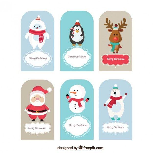 Cartões de Natal animais Vetor grátis