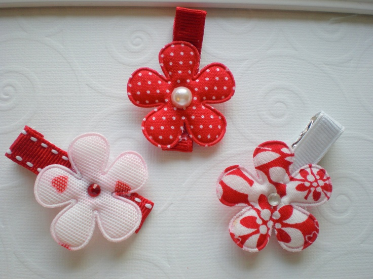 Red and White Mix Flower Hair Clips  Set of 3 by CCsChicBowtique, $6.95  #hairclips #hairbows #Etsy #flowers