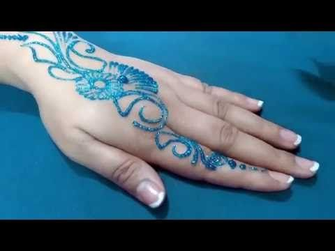 New Easy and Quick BLUE color Glitter Mehndi Design for Parties ★ step by step tutorial - YouTube