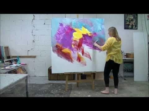 Démonstration de peinture abstraite par Jadis 2 - YouTube