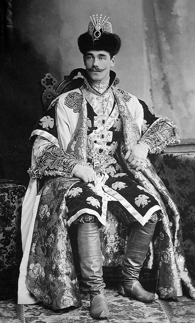 Grand Duke Mikhail Alexandrovich dressed for the Winter Costume Ball of 1903. Mikhail was the youngest brother of Tsar Nicholas ll. When Nicholas was forced to abdicate, Mikhail was asked if he wanted to become the new Tsar. He refused. He was murdered by the Bolsheviks along side other family members in a very brutal manner.
