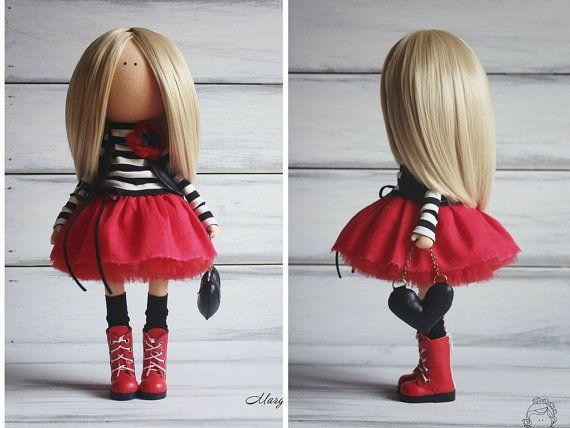 Morbida bambola bambola Handmade bionda nero di AnnKirillartPlace