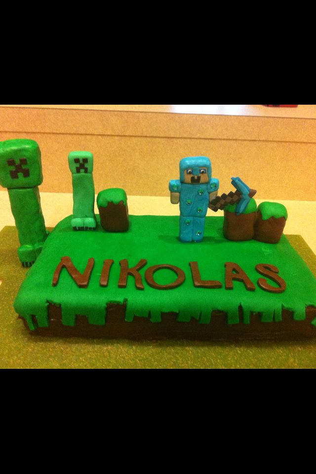 Minecraft cake. Check out our Facebook page Ruzakos gift shop