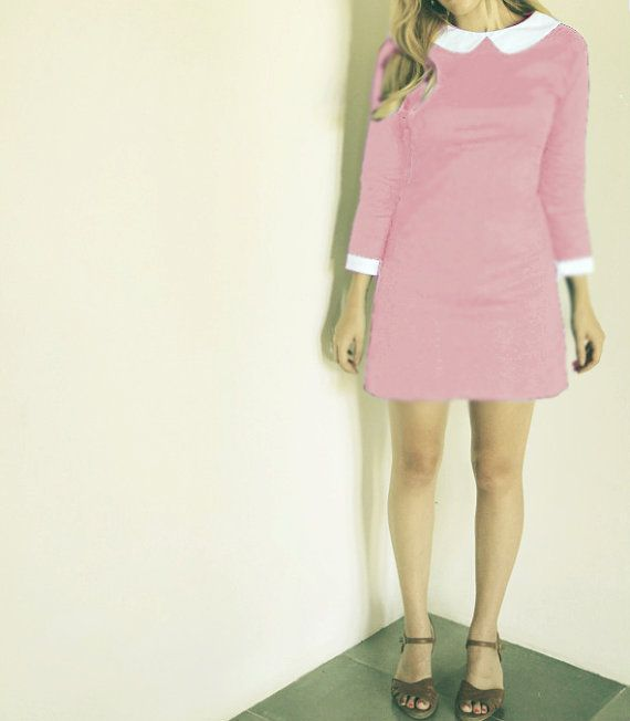 My bridesmaid dress for Sara and Mike's wedding! 1960's dress pink peter pan collar dress by FrenchieYork on Etsy, $60.00