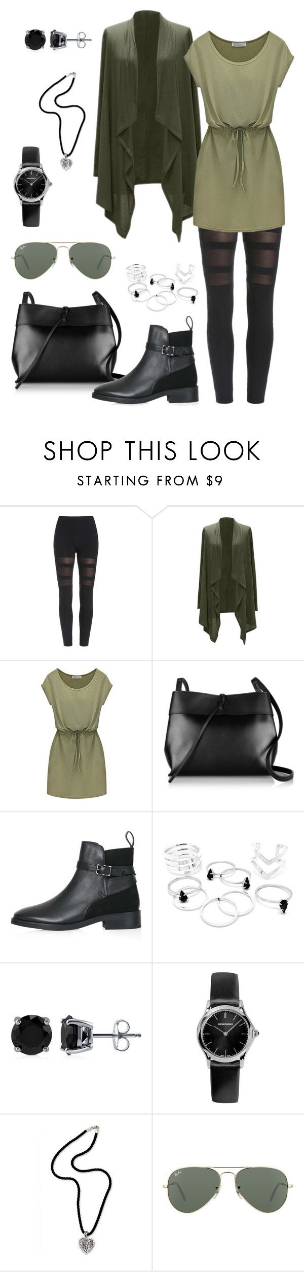 """Romwe black leggins"" by zana-k ❤ liked on Polyvore featuring RIFLE, Kara, Topshop, BERRICLE, Emporio Armani, NOVICA and Ray-Ban"