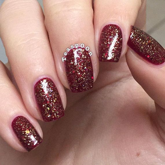 Gingerbread Latte With Optional Scent Custom Red Gold Copper Bronze Glitter Topper Nail Polish Gold Nails Xmas Nails Red Nails