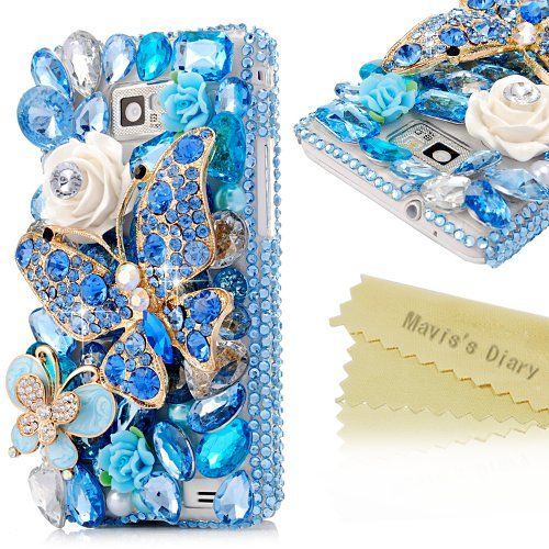 Mavis's Diary 3D Handmade Luxury Blue Crystal Butterfly Diamond Rhinestone Flower Crown Pearl Design Bling Hard Cover Clear Case with Soft Clean Cloth (Samsung Galaxy S2 i9100 Galaxy S 2 II Plus I9105 International Version) Mavis's Diary,http://www.amazon.com/dp/B00GJD4ALM/ref=cm_sw_r_pi_dp_HC9.sb1FWK8Y7PCE