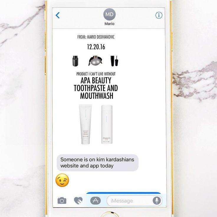 Happy to see our products on Kim Kardashian's website and app today!! 😊 Thanks @makeupbymario #ThankYou #ApaToothpaste #Toothpaste #ApaWhiteRinse #Mouthwash #Dental #CantLiveWithoutIt #ApaBeauty #DoctorApa #ApaAesthetic #SmileCare