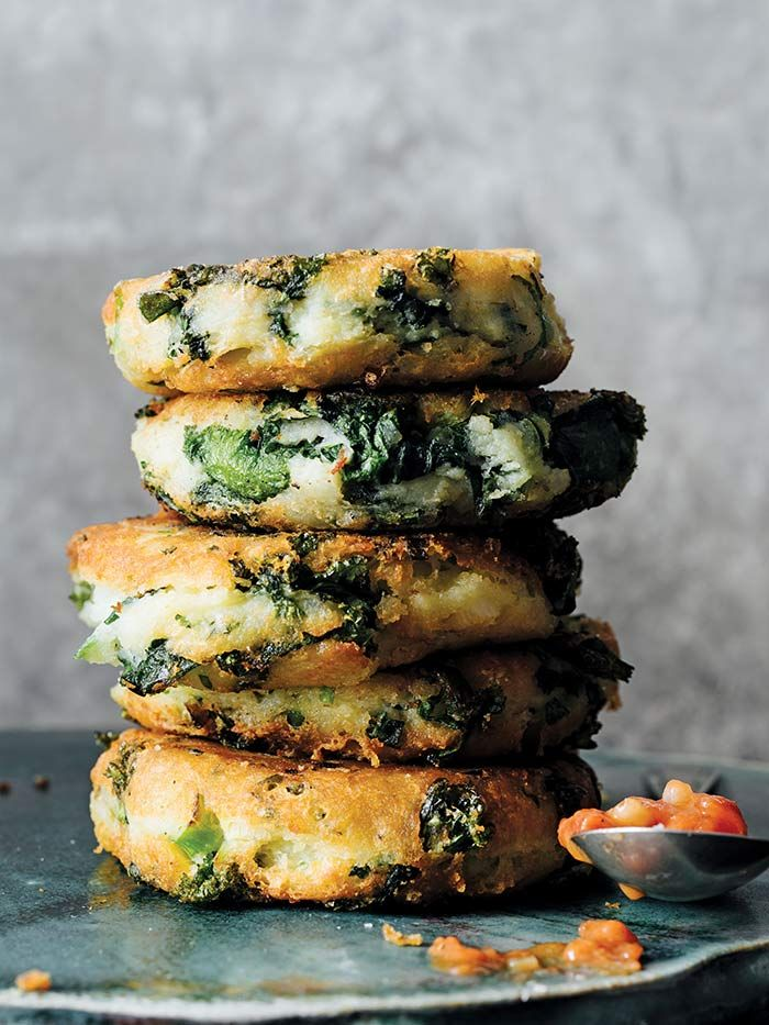 Kale Potato Pancakes from Victuals by Ronni Lundy photographed by Johnny Autry on DesignSponge