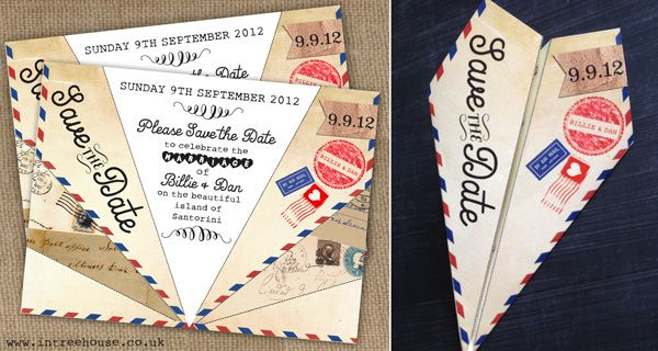 Airmail Love Story Vintage Wedding Save the Date Paper Aeroplane Airplane Plane by In the Treehouse