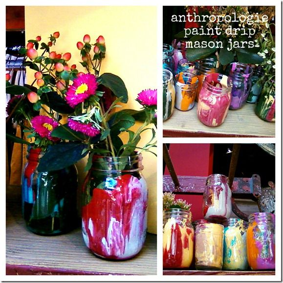 Anthropologie inspired paint drip mason jars