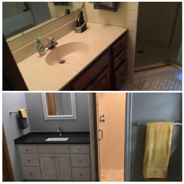 Upgrades to this Twin Cities bathroom included a new vanity, mirror, and counterop.  In place of the tired small white floor tiles, larger gray floor tiles were installed.  In-floor heating was also included.  A new shower with a semi-frameless door replaced the previous shower door that had a bright brass finish.
