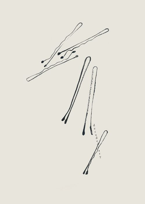 bobby pins: Hair Pin, Pin Illustrations, By Decade Diaries, Simple Artwork, Bernadette Easter, Simple Drawings, Hair Clip, Fashion Illustrations, Bobby Pin