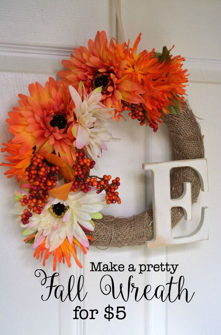 See how to make this Fall Wreath for $5! A fun and easy DIY.