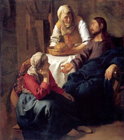 CHRIST IN THE HOUSE OF   MARTHA AND MARY  (Christus in het huis van Martha en Maria)  c. 1654-1655  oil on canvas  63 x 53 7/8 in. (160 x 142 cm.)  National Gallery of Scotland, Edinburgh