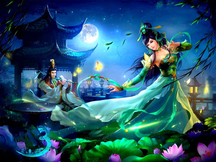 Fantasy Donne  Dancer Flute Musician Lunari Woman Man Fantasy Ragazze Danza Pagoda Loto Sfondo