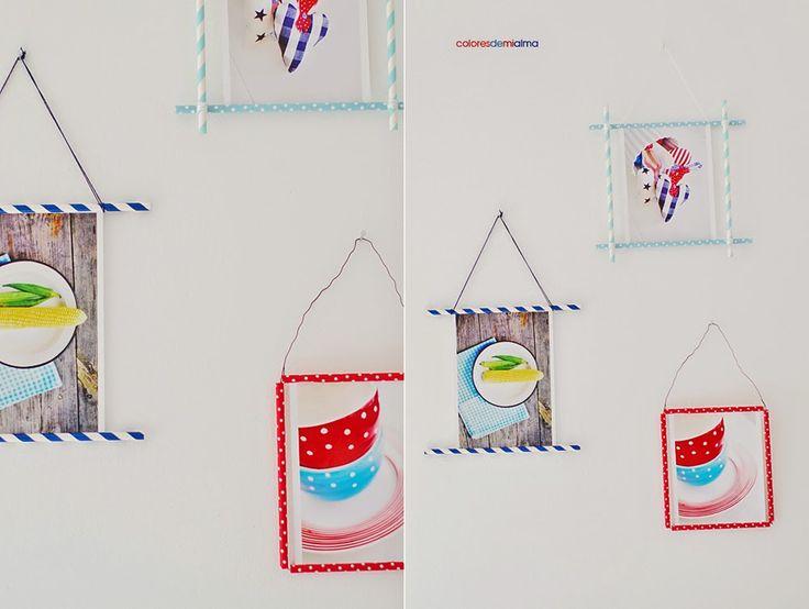 paper straws crafts , photo frame