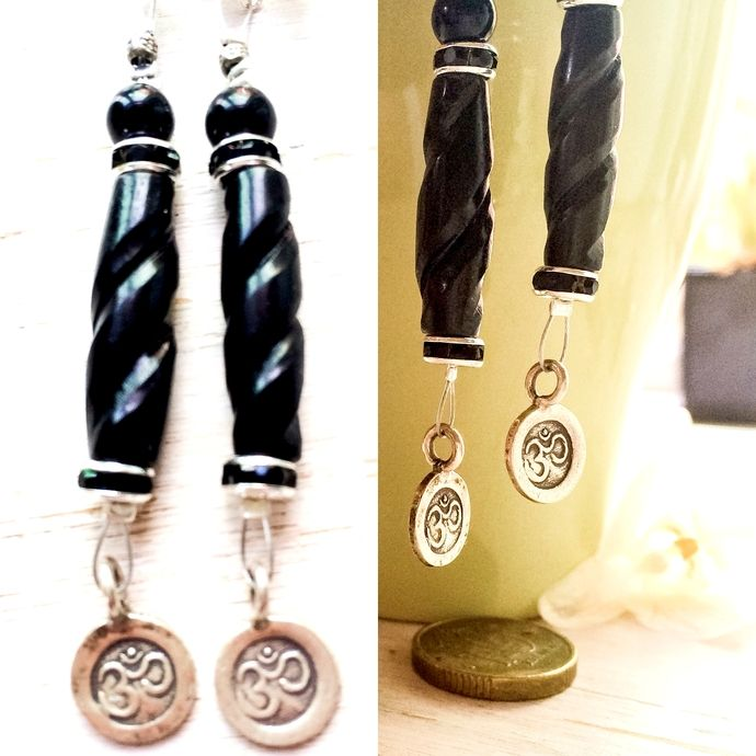 OM Yoga Onyx Dangle Earrings - Karen Hill Tribe Silver , Sterling Silver   #batyahavdesign #dangle #jewelry #earrings #onyx #fashion #Boho #Gypsy #jeans #lava