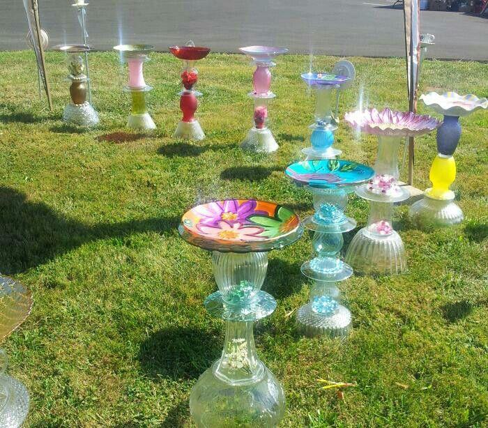 Repurposed Glass BirdBaths