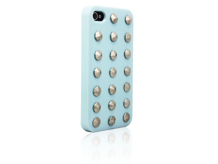 Hardcover Snap Case hoesje iPhone 4/4S ronde studs baby blauw
