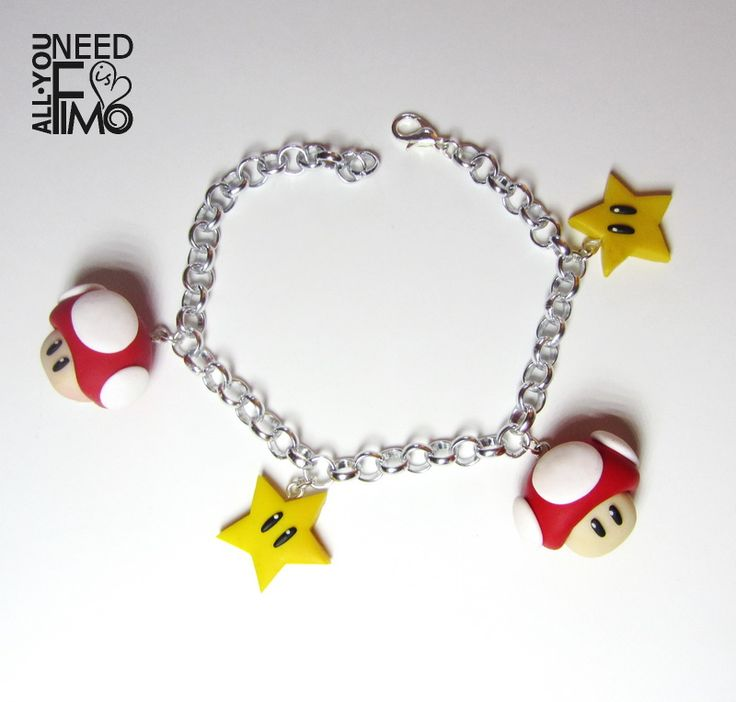 """""""MAMMA MIA! It's me, Mario! """" Bracelet with fimo charms inspired by Toad and Star from Super Mario Bros, now in my Etsy Shop!  INFO: https://www.facebook.com/AllYouNeedIsFimo/photos/a.937250929688782.1073741828.932013750212500/1174747439272462/?type=3&theater  #fimo #polymerclay #artigianato #fattoamano #handmade #jewelry #gioielli #ciondoli #charms #supermario #supermariobros #toad #star #mushroom #nintendo #videogame #nerd #geek #otaku #etsy #allyouneedisfimo #etsyfinds #etsyshop"""