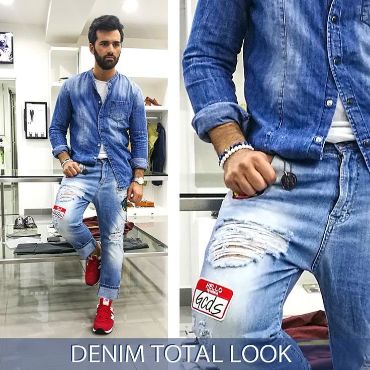 Tendenza #DENIM total look: Jeans e Patches Come lo indosserà l'uomo questa Primavera Estate 2017? Ecco la nostra proposta! SHOP ONLINE:  Pantalone IMPERIAL  Scarpe NEW BALANCE  Info #WhatsApp : 3394695377 #IMPERIAL #NEWBALANCE #DENIMTOTALLOOK #SHOPONLINE #JEANS #PATCHES #CAMICIA #UOMO #SS2017