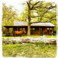 Cozy Cabin on the grounds of a riding stables. This lovely cabin in a private setting is spacious yet has a warm rustic feeling. Built in the 1940s, it has...