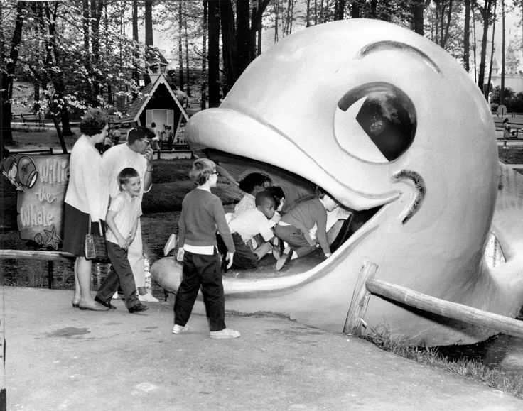 In May 1970, guests from the Maryland School for the Blind listen to Willie the Whale laugh. Willie was one of a number of attractions at The Enchanted Forest in Ellicott City, a storybook park built in 1955 by Howard Harrison.
