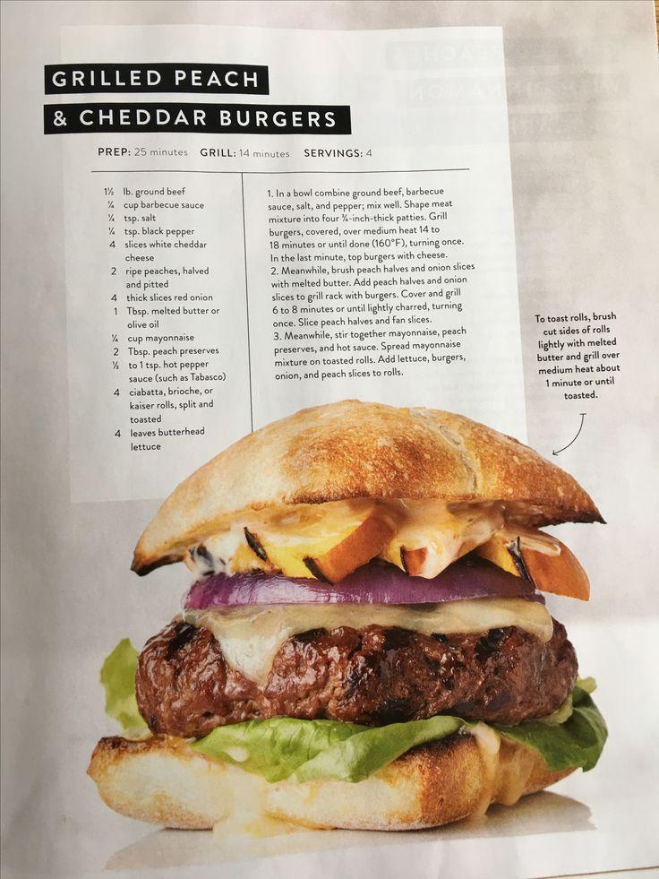 Grilled peach & cheddar burger/ JoJo Gaines -Magnolia Journal