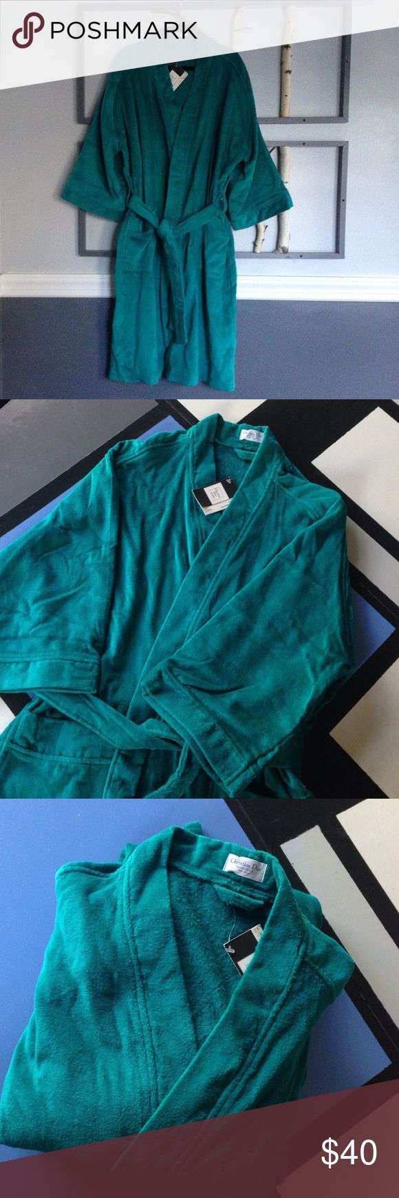 "Retro Dior Bathrobe - Teal - Men OS and Women XL+ This with tags Christian Dior ""Monsieur"" terry bathrobe in snazzy teal is 100 cotton comfortable.  Two pockets hold your shower/bath essentials and the two tiered belt loops ensure a snug fit.  While the label is one size for Men, I think it will work for the Ladies XL and up as well. Cannot be bundled with other closet items due to shipping weight. Christian Dior Other"
